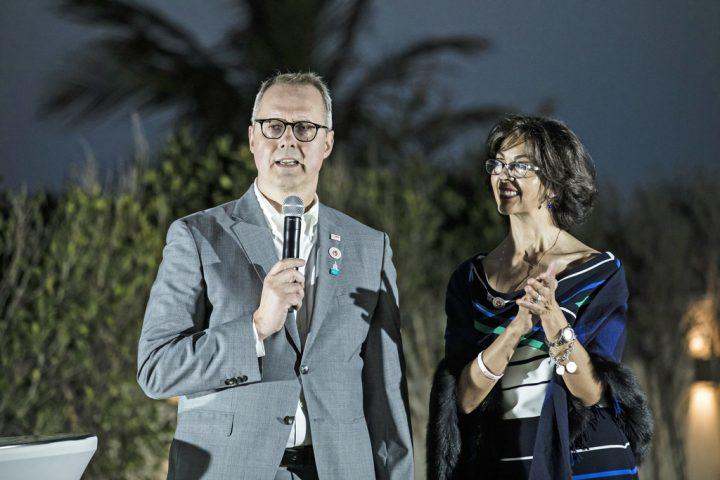 Die Gastgeber - Botschafter Ernst Peter Fischer und seine Frau Maria - empfingen die Deutsche Galerie in ihrer Residenz - SOD/Stefan Holtzem